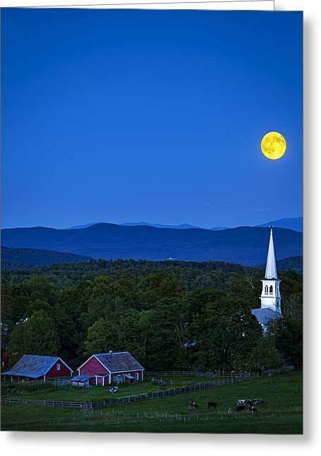 Blue Moon Rising Over Church Steeple Greeting Card