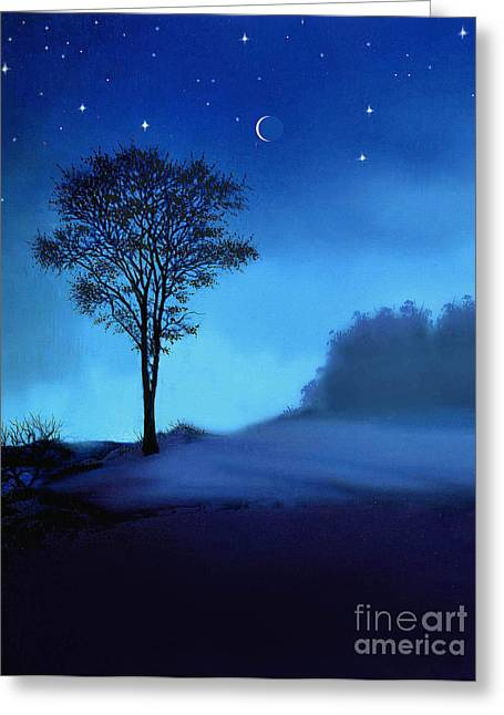 Blue Moon Greeting Card by Robert Foster