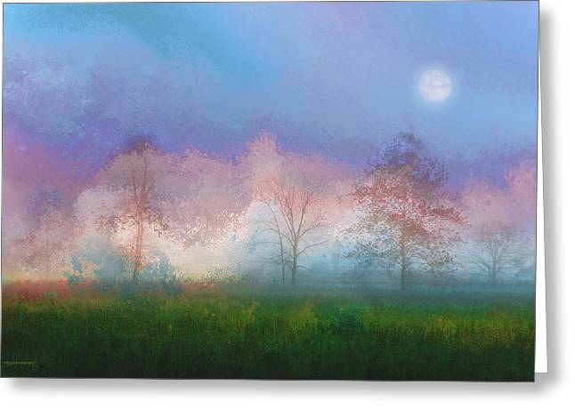 Landscapes Digital Art Greeting Cards - Blue Moon Greeting Card by Ron Jones