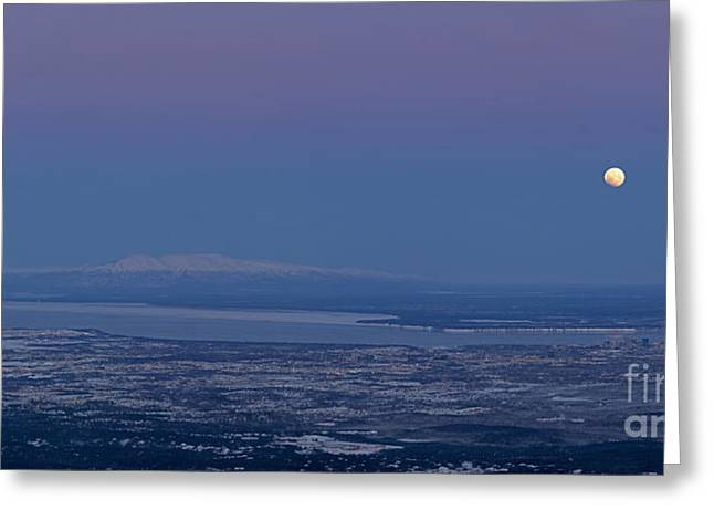 Blue Moon Setting Greeting Card by Tim Grams