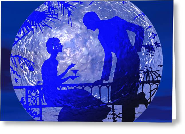 Blue Moonlight Lovers Greeting Card