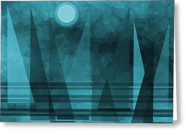 Blue Moonlight Sail Greeting Card
