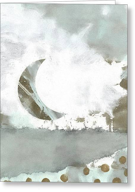 Blue Moonset Monoprint Collage Greeting Card by Carol Leigh
