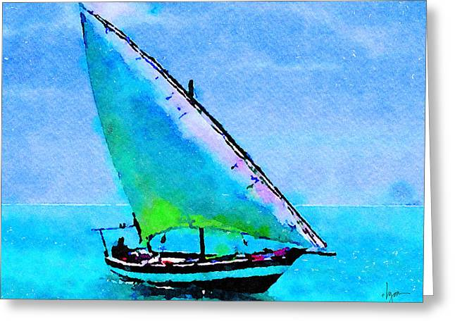 Greeting Card featuring the painting Blue Morning by Angela Treat Lyon