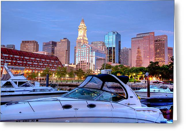 Ocean Springs Yacht Club Greeting Cards - Blue Morning on Boston Harbor Greeting Card by Susan Cole Kelly