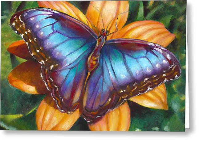 Blue Morpho Butterfly Greeting Card by Nancy Tilles