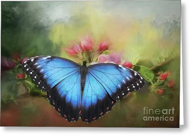 Blue Morpho On A Blossom Greeting Card