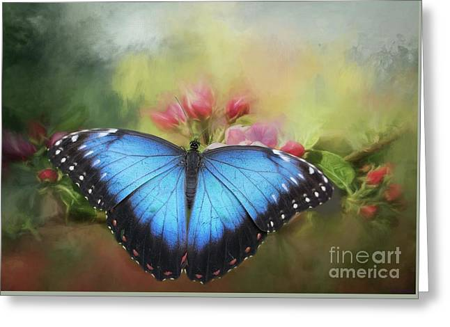 Blue Morpho On A Blossom Greeting Card