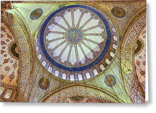 Blue Mosque Ceiling Greeting Card by Phyllis Taylor