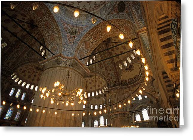 Blue Mosque Interior Greeting Card by Sami Sarkis