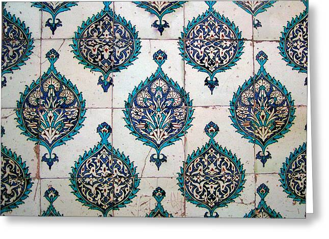 Blue Mosque Tiles Greeting Card