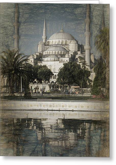 Blue Mosque - Vintage Blue Sketch Greeting Card by Stephen Stookey