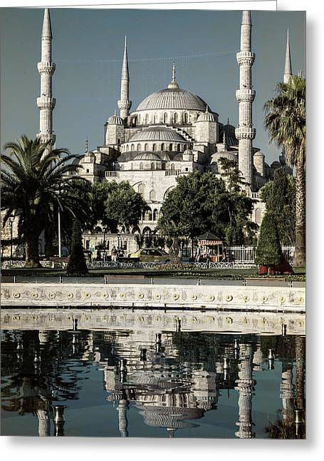 Blue Mosque - Vintage Blue Greeting Card