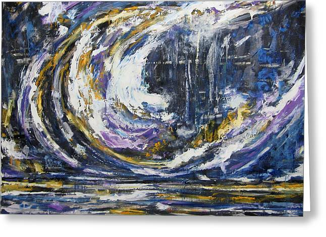 Greeting Card featuring the painting Blue Motion by Debora Cardaci
