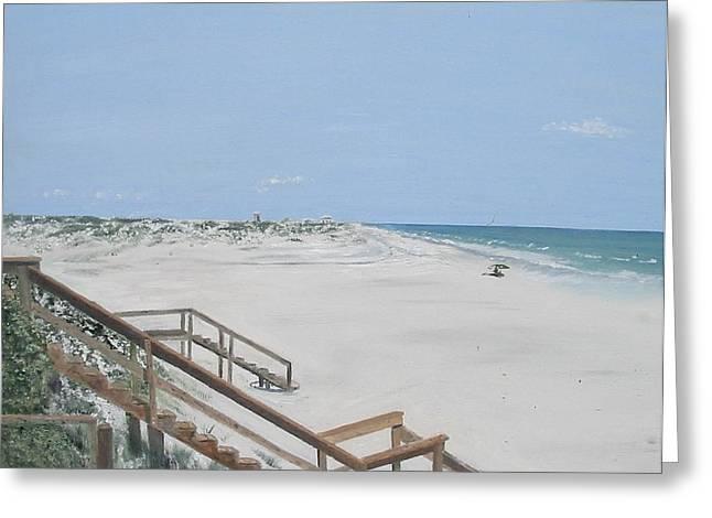 Blue Mountain Beach II Greeting Card by John Terry