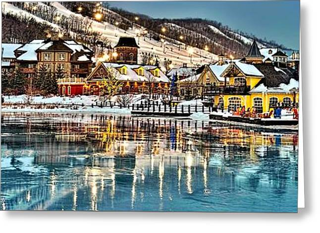 Blue Mountain Ice Reflection Greeting Card