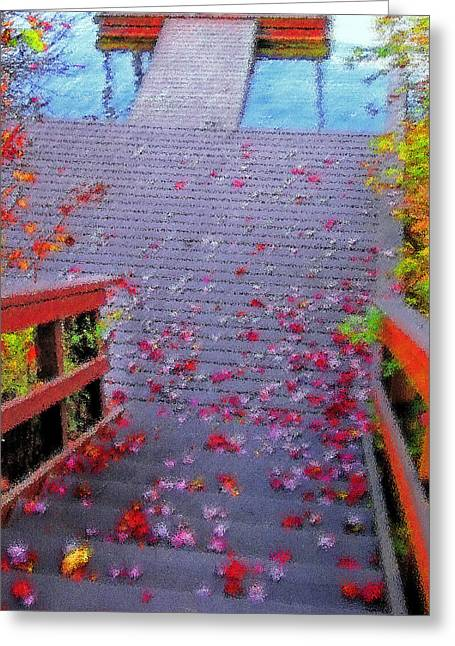 Blue Mountain Lake 11 - Dock Abstract Greeting Card by Steve Ohlsen