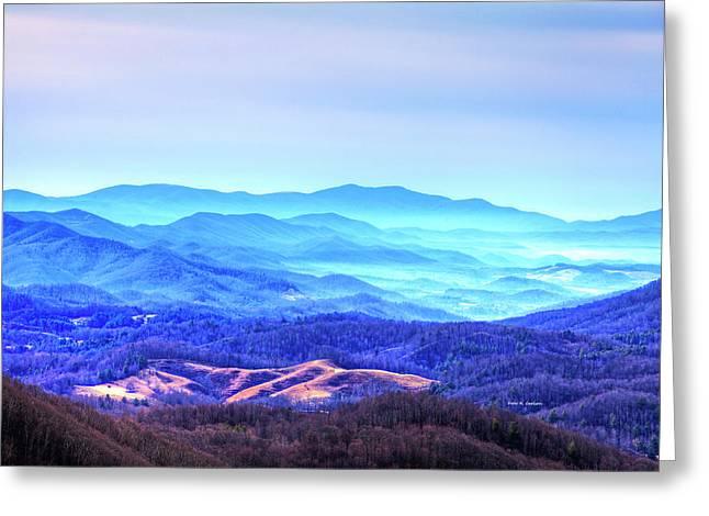 Blue Mountain Mist Greeting Card by Dale R Carlson
