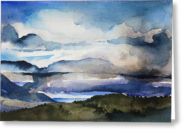Blue Mountain Greeting Card by Stephanie Aarons