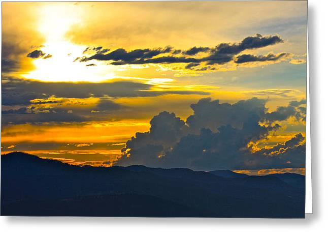 Blue Mountain Sunset Greeting Card