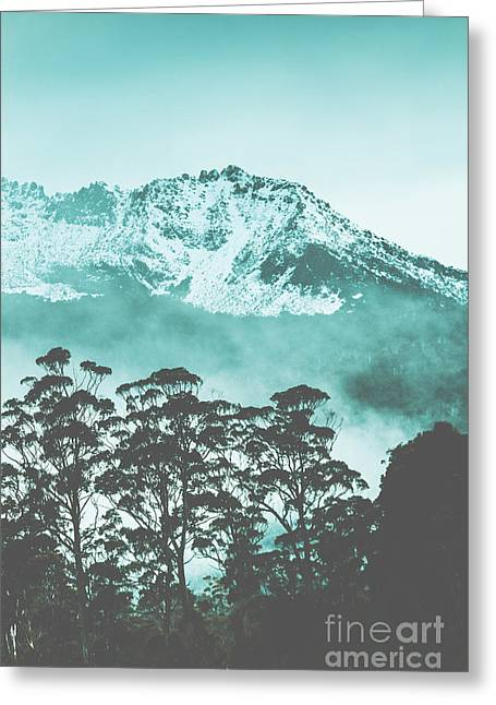 Blue Mountain Winter Landscape Greeting Card
