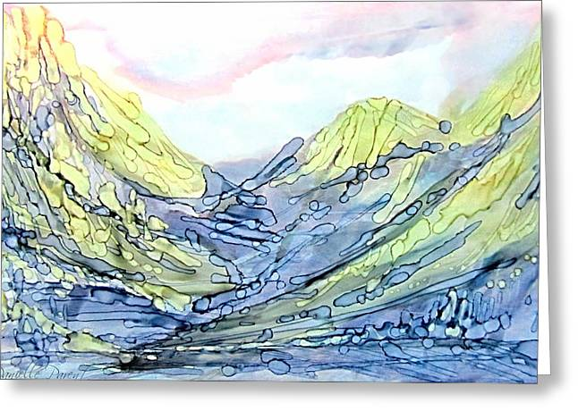 Blue Mountains Alcohol Inks  Greeting Card by Danielle  Parent