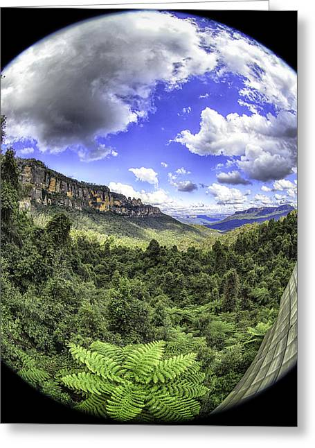 Blue Mountains Fisheye Greeting Card