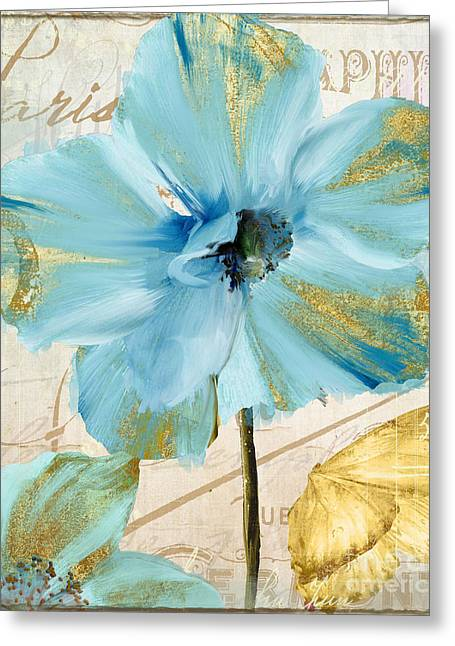 Blue Mountan Poppy With Gold Greeting Card by Mindy Sommers
