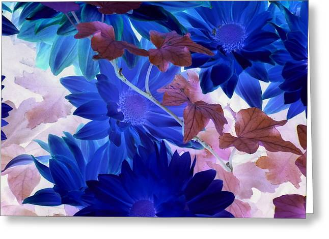 Blue Mums With Purple Ivy Greeting Card