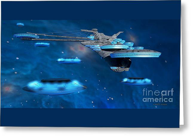 Blue Nebula Expanse Greeting Card by Corey Ford