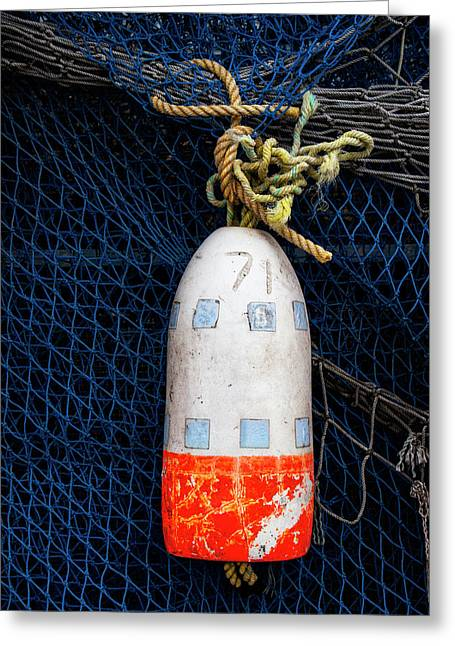 Blue Net And Orange And White Buoy Greeting Card by Carol Leigh
