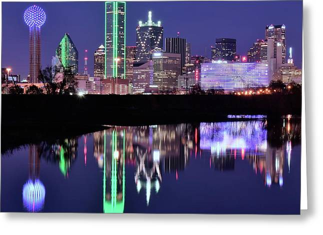 Greeting Card featuring the photograph Blue Night And Reflections In Dallas by Frozen in Time Fine Art Photography
