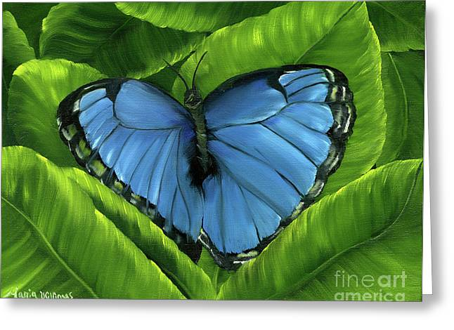 Blue Night Butterfly Greeting Card by Maria Williams