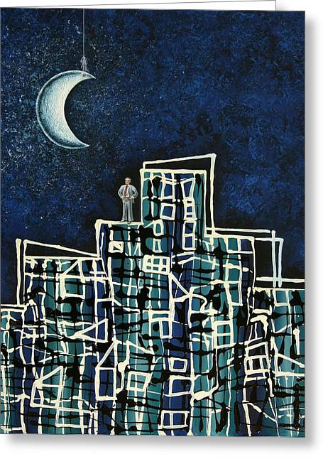 Blue Night Greeting Card by Graciela Bello