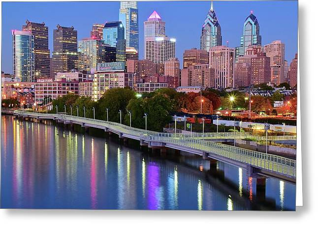 Blue Night Lights In Philly Greeting Card