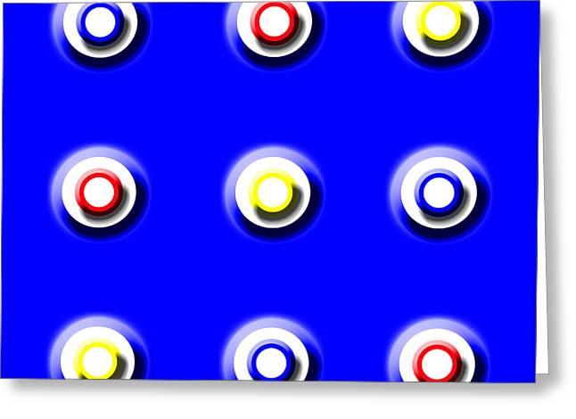 Blue Nine Squared Greeting Card