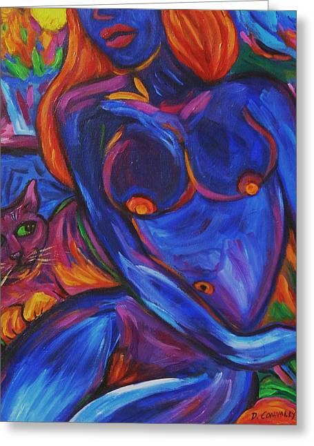 Greeting Card featuring the painting Blue Nude And Pink Puss by Dianne  Connolly