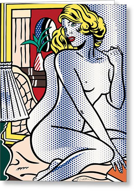 Blue Nude - Pop Art Greeting Card