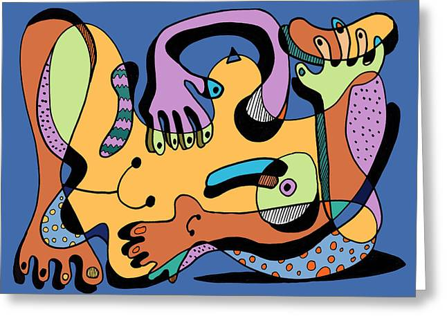 Blue Nude Number Two Greeting Card by Geoff Greene