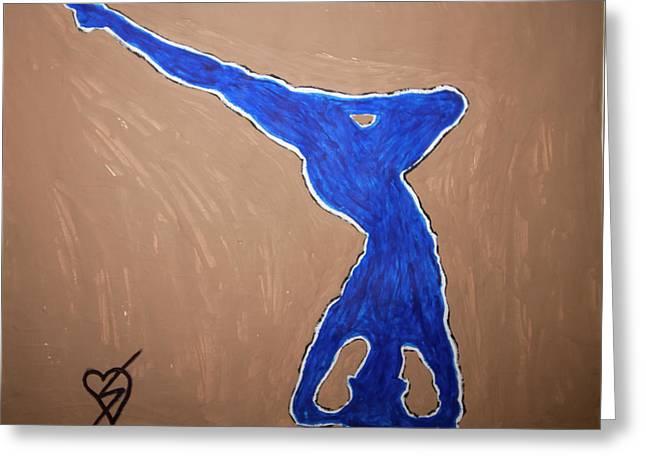 Blue Nude Yoga Greeting Card by Stormm Bradshaw