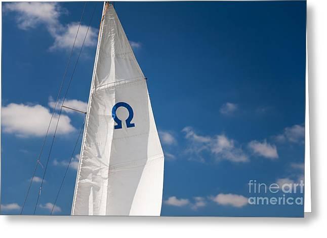 Blue Omega Sign Mast Detail Greeting Card by Arletta Cwalina