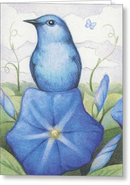 Blue On Blue Greeting Card by Amy S Turner