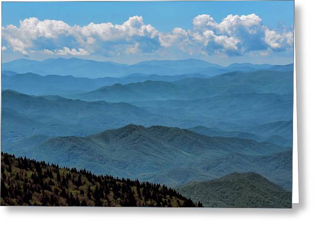 Blue On Blue - Great Smoky Mountains Greeting Card by Nikolyn McDonald