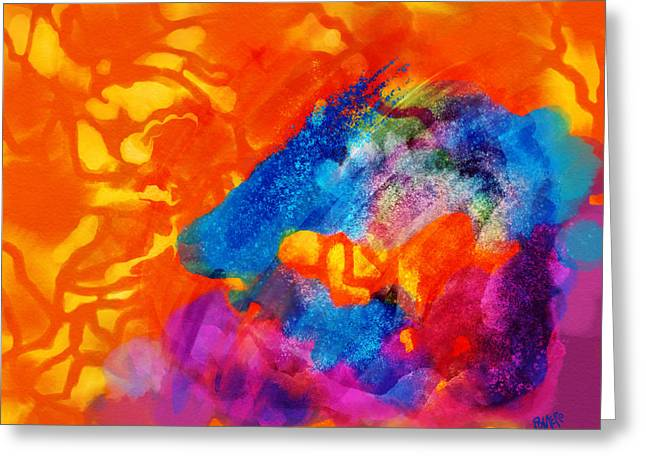 Greeting Card featuring the digital art Blue On Orange by Antonio Romero