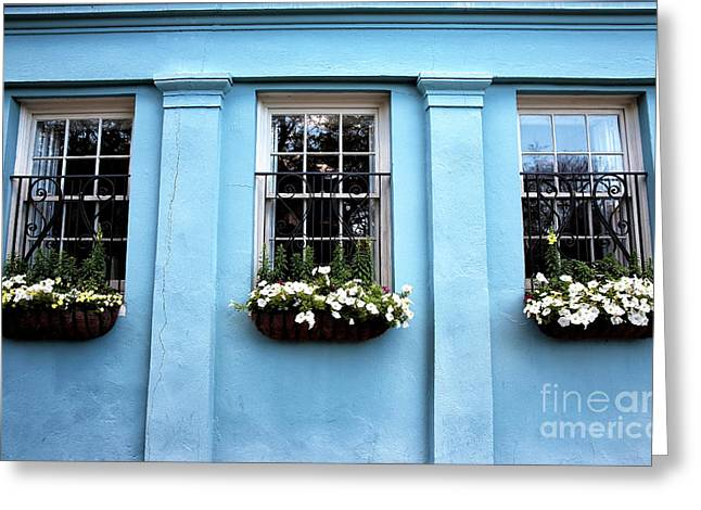 Blue On Rainbow Row Greeting Card by John Rizzuto