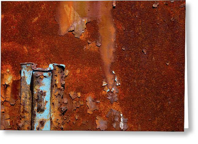 Blue On Rust Greeting Card by Karol Livote