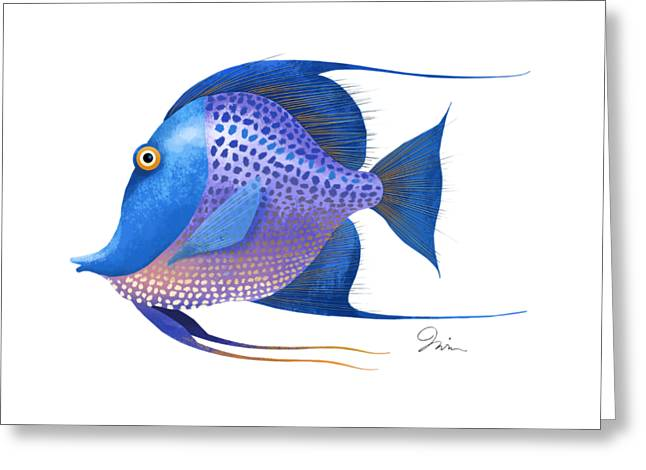 Blue On White Greeting Card
