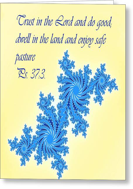 Scripture Digital Art Greeting Cards - Blue on Yellow Ps. 37v3 Greeting Card by Linda Phelps