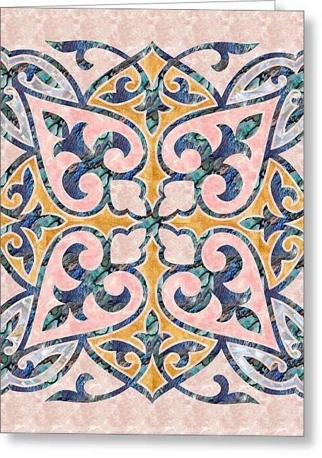 Blue Oriental Tile 01 Greeting Card
