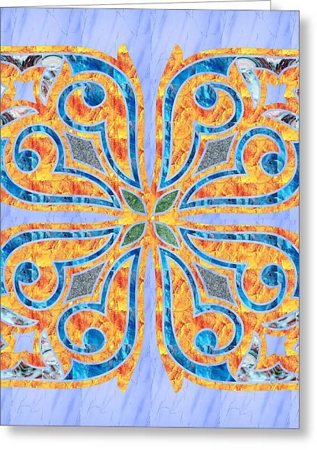 Blue Oriental Tile 02 Greeting Card